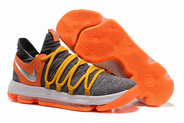Nike KD 10 Shoes Cool Grey Orange