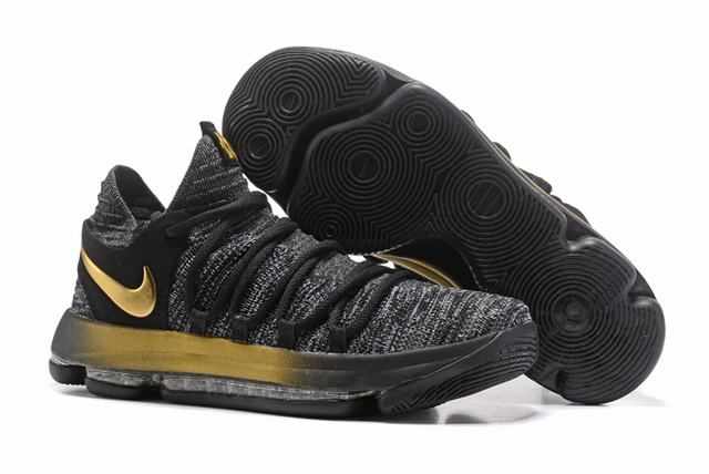 Nike KD 10 Shoes Grey Black Gold