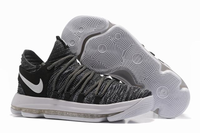 Nike KD 10 Shoes Grey Black White
