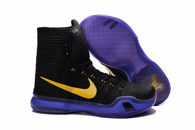 Kobe 10 Shoes Elite Black Purple Yellow
