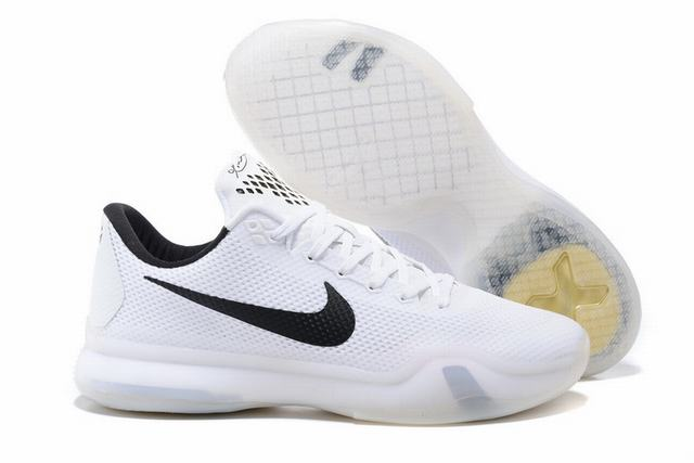 Kobe 10 Shoes Low White Black