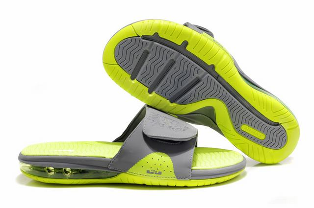 Nike Lebron James Slide Elite Air Cushion Slippers Grey Fluorescent Green