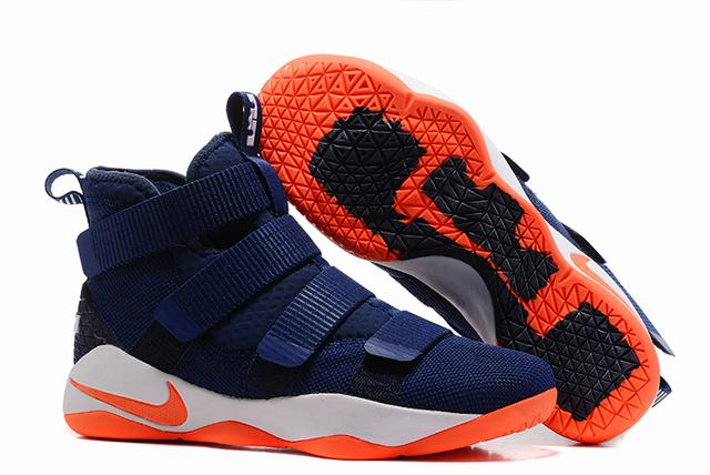 Nike Lebron James Soldier 11 Shoes Dark Blue Orange