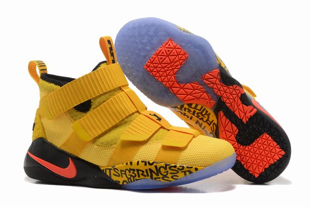 Nike Lebron James Soldier 11 Shoes Yellow Black Red