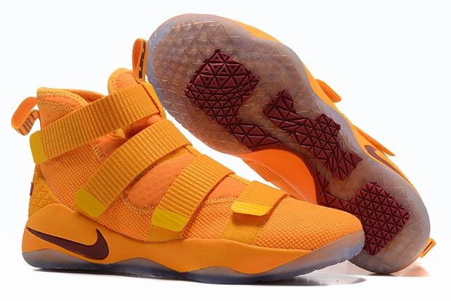 Nike Lebron James Soldier 11 Shoes Yellow Wine Red