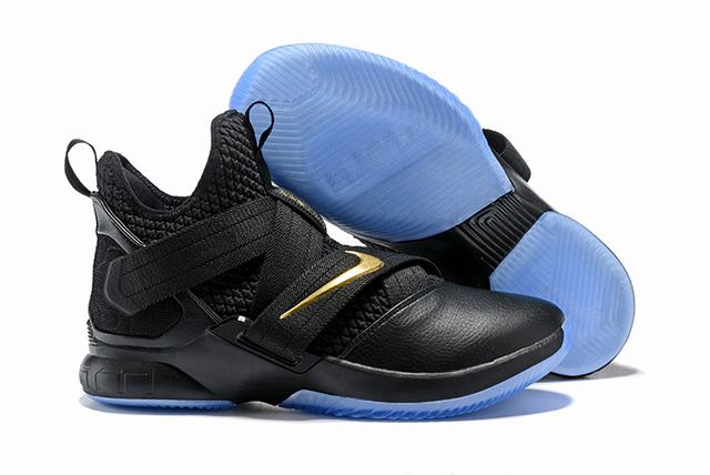 Nike Lebron James Soldier 12 Shoes Black Gold