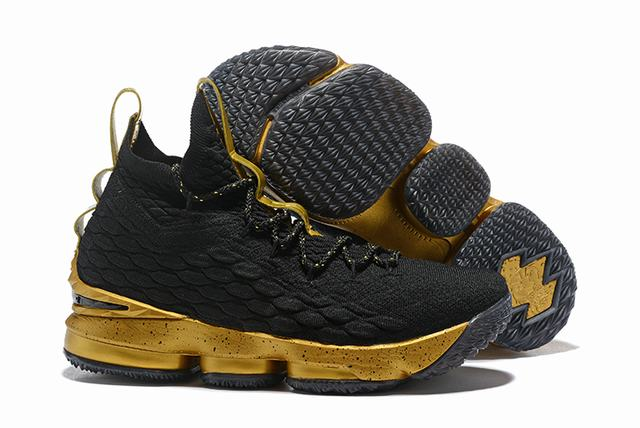 Nike Lebron James 15 Air Cushion Shoes Champion Black Gold