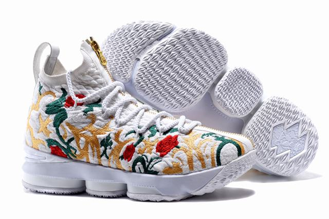 Nike Lebron James 15 Air Cushion Shoes Flowers and Plants White