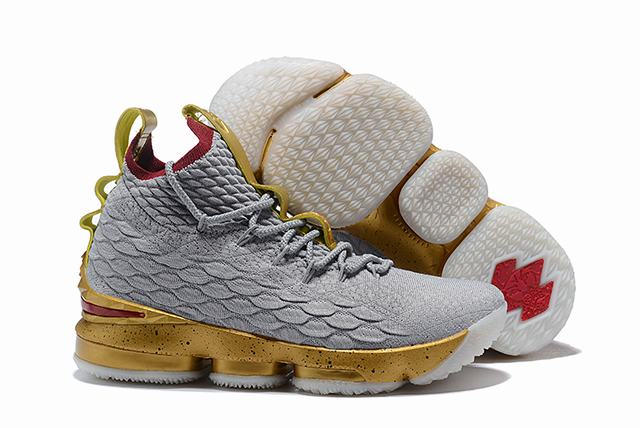 Nike Lebron James 15 Air Cushion Shoes Grey Gold Red