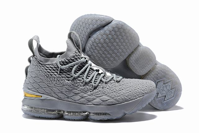 Nike Lebron James 15 Air Cushion Shoes Grey Gold