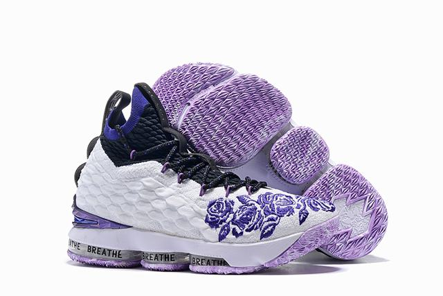 Nike Lebron James 15 Air Cushion Shoes Lakers Flowers and Plants White Purple