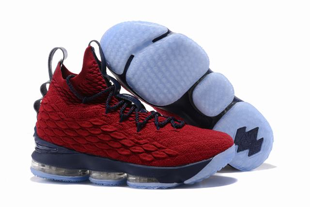 Nike Lebron James 15 Air Cushion Shoes Wine Red Dark Blue