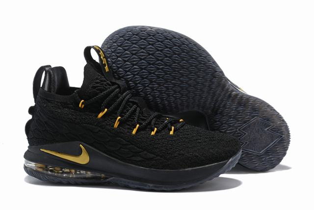 Nike Lebron James 15 Air Cushion Shoes Low Black Gold Gold