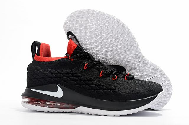 Nike Lebron James 15 Air Cushion Shoes Low Black Red White