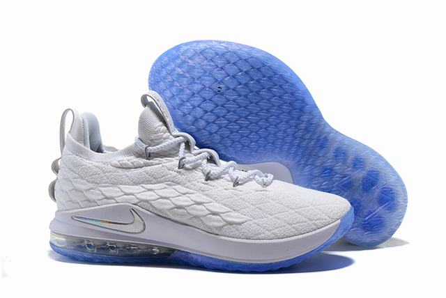 Nike Lebron James 15 Air Cushion Shoes Low White Blue Silver