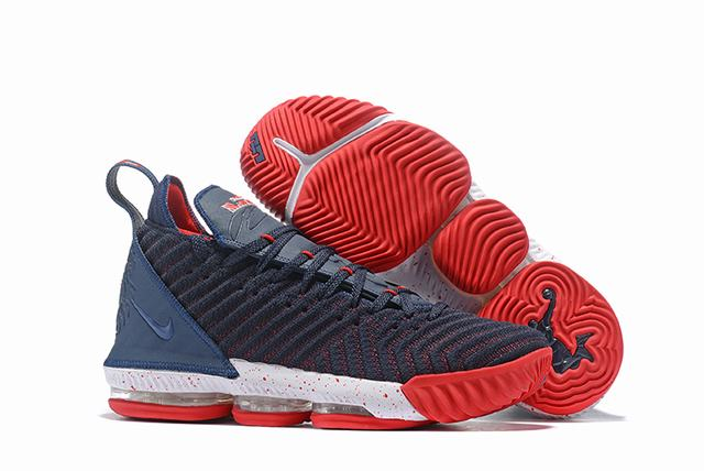 Nike Lebron James 16 Air Cushion Shoes Dark Blue White Red
