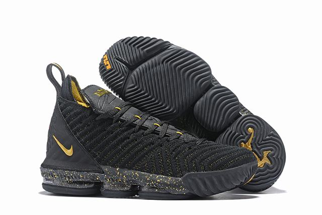 Nike Lebron James 16 Air Cushion Shoes Black Gold-logo