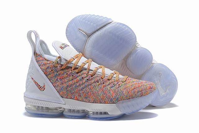 Nike Lebron James 16 Air Cushion Shoes Rainbow White