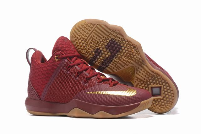 Nike Lebron James Ambassador 9 Shoes Wine Red Gold
