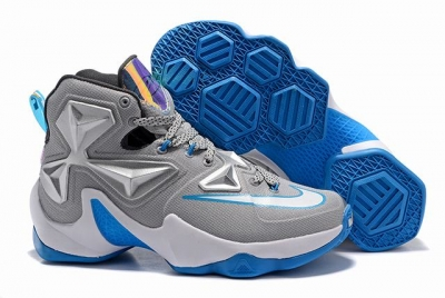 Nike Lebron James 13 Shoes Grey Blue White