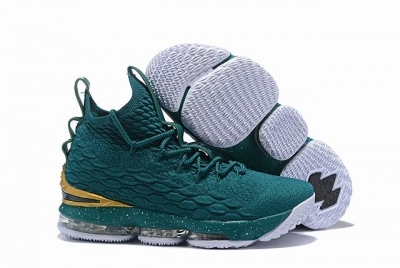 Nike Lebron James 15 Air Cushion Shoes Blackish Green Gold