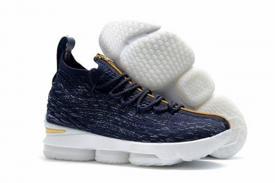 Nike Lebron James 15 Air Cushion Shoes Dark Blue Gold