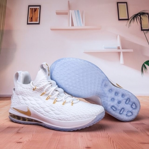 Nike Lebron James 15 Air Cushion Shoes Low White Gold