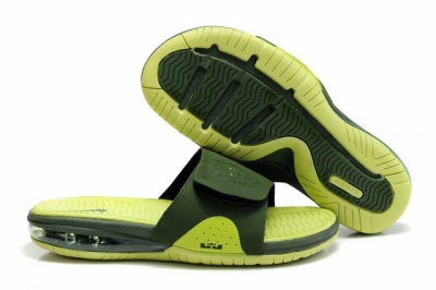 Nike Lebron James Slide Elite Air Cushion Slippers Dark Green Fluorescent Green