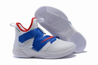 Nike Lebron James Soldier 12 Shoes White Royal Blue Red