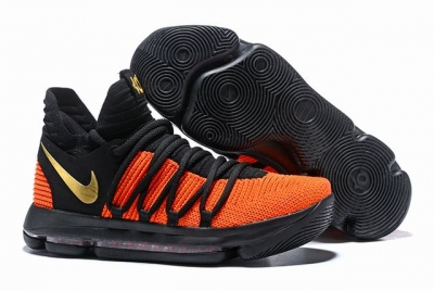 Nike KD 10 Shoes Black Orange Gold
