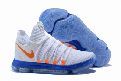 Nike KD 10 Shoes White Blue Orange