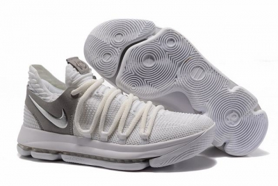 Nike KD 10 Shoes White Silver
