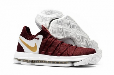 Nike KD 10 Shoes Wine Red Gold