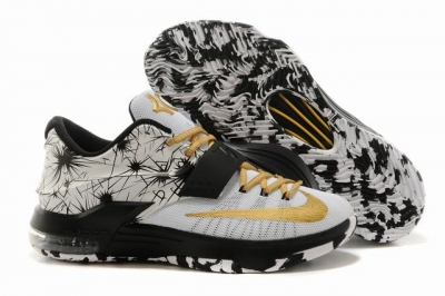 Nike KD 7 Air Cushion Shoes White Black Gold