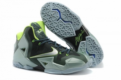 Nike Lebron James 11 Shoes Charcoal Grey Fluorescent Green