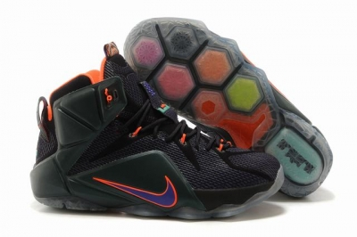 Nike Lebron James 12 Shoes Black Purple Orange